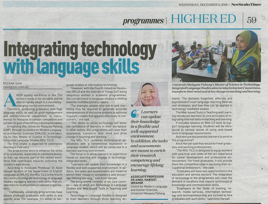 Integrating technology with language skills
