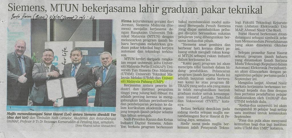 Siemens, MTUN bekerjasama lahir graduan pakar teknikal