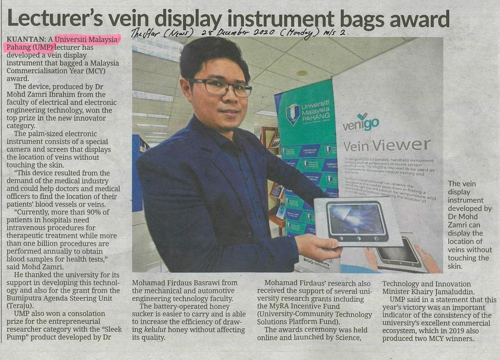 Lecturer's vein display instrument bags award